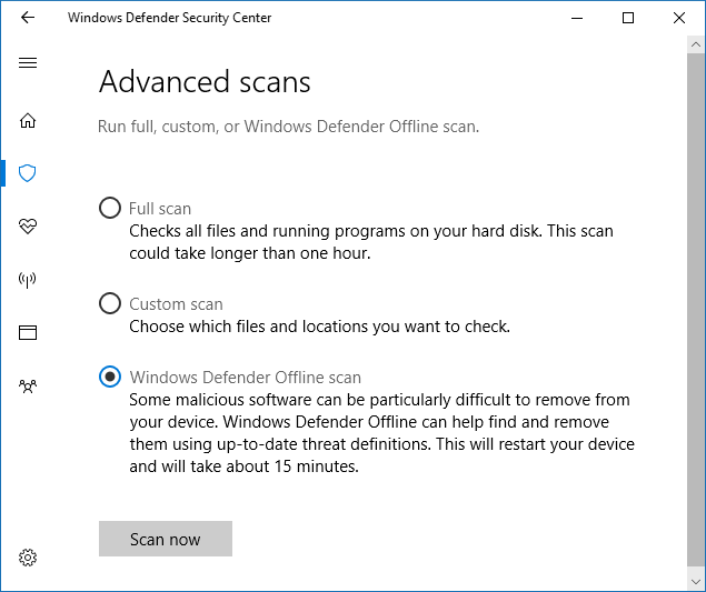 Windows Defender Offline and WinRE – System Procedures