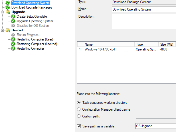 Testing Windows 10 in-place upgrade task sequence – System
